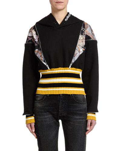 Open-Shoulder Pullover Hoodie with Zippers