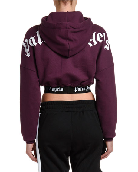 Palm Angels Cropped Logo Pullover Hoodie