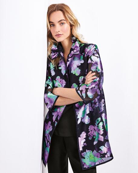 Caroline Rose Passion Flower Organza Topper Jacket, Petite