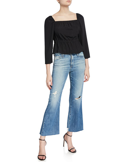 AG Quinne Cropped High-Rise Distressed Jeans