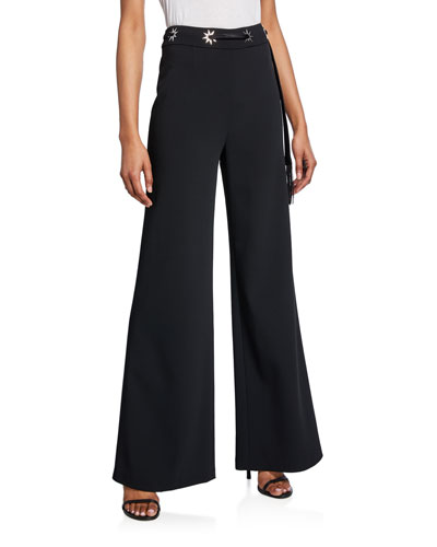 Star-Studded Crepe Wide-Leg Pants