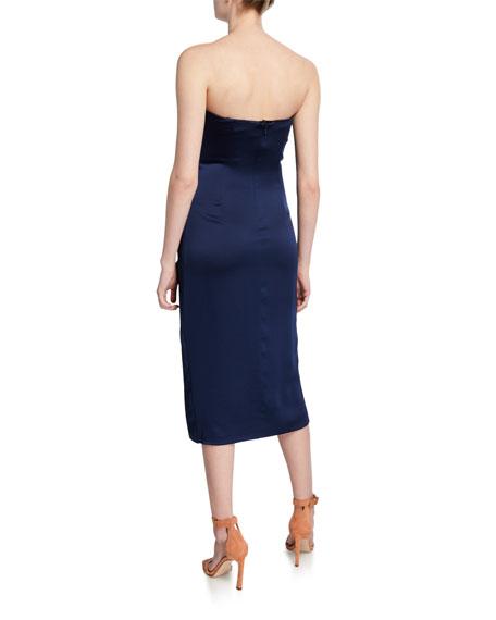 Jonathan Simkhai Ruffle Bustier Sateen Cocktail Dress