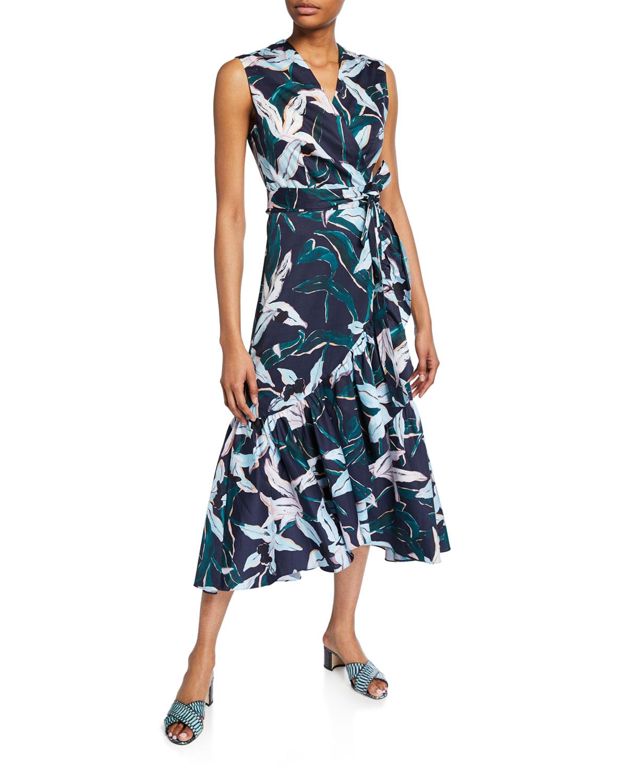 1a4ef98abe4 Tory Burch Floral-Print Sleeveless Flounce Wrap Dress | Neiman Marcus