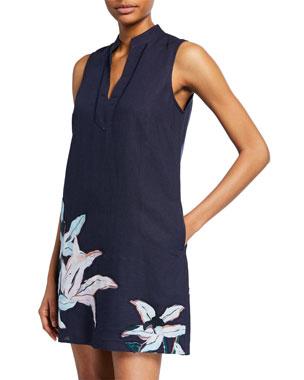 649f4cc2f64 Tory Burch Sleeveless Linen Printed Tunic Dress