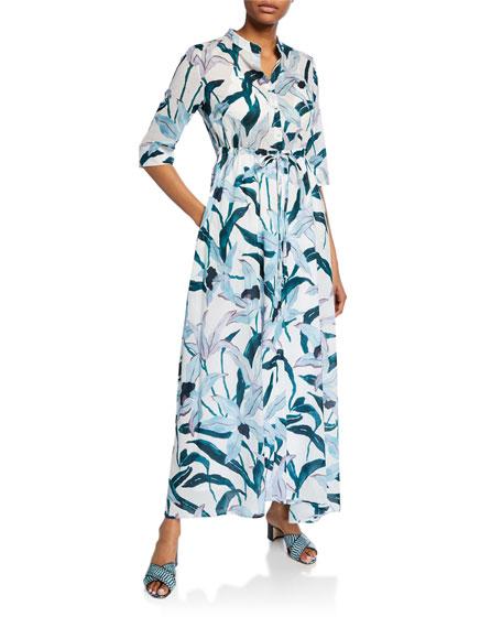 Tory Burch Printed 3/4-Sleeve Long Shirt Dress