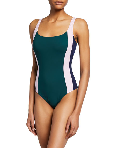 Tory Burch Colorblocked One-Piece Swimsuit