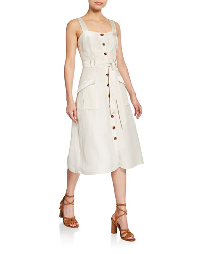 Bourey Linen Utility Midi Dress