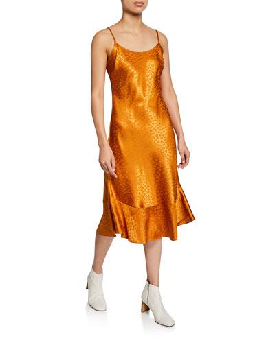 Dalvin Animal-Jacquard Scoop-Neck Slip Dress