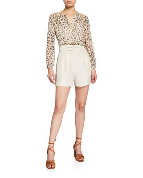 Joie Brenten Belted High-Rise Linen Shorts