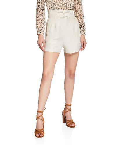 Brenten Belted High-Rise Linen Shorts