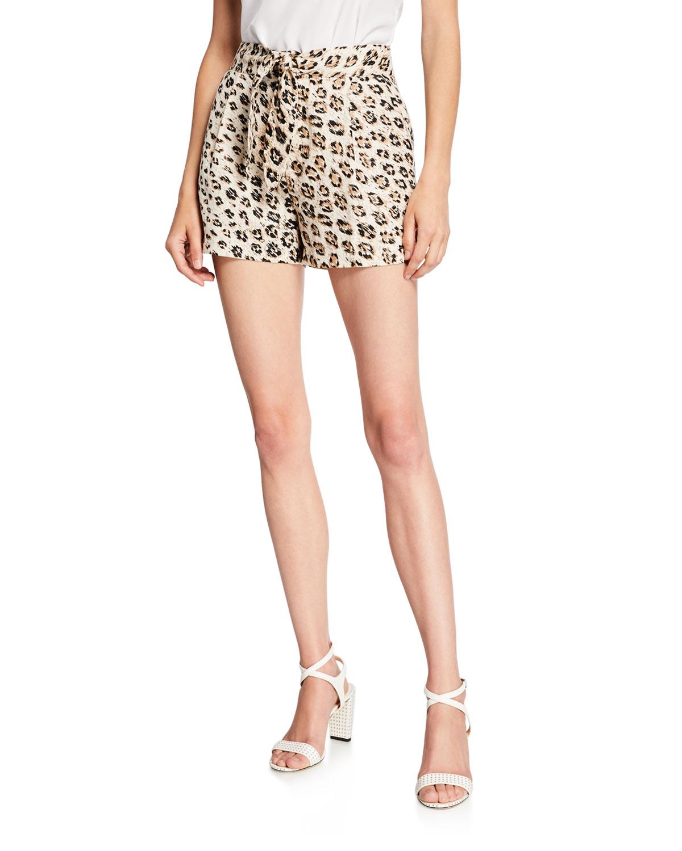 Joie Carden Leopard-Print Linen Shorts