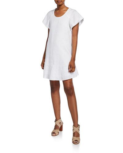 Carlen Scoop-Neck Linen Shift Dress