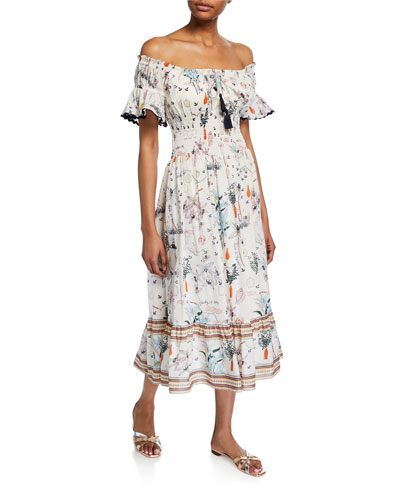 Meadow Folly Off-the-Shoulder Floral Midi Dress