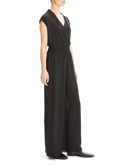 Theory Silk Wide-Leg Pull-On Pants