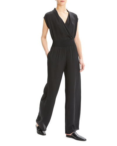Silk Wide-Leg Pull-On Pants