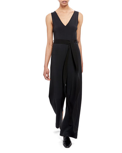 Knit Sleeveless Tie-Waist Jumpsuit