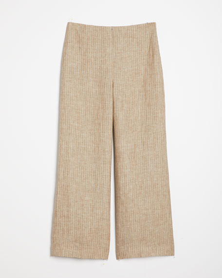 Theory Clean Cropped Linen Pants