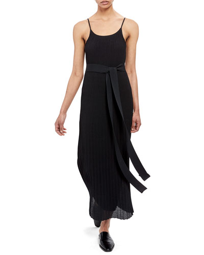 Pleated Tie-Waist Tank Dress
