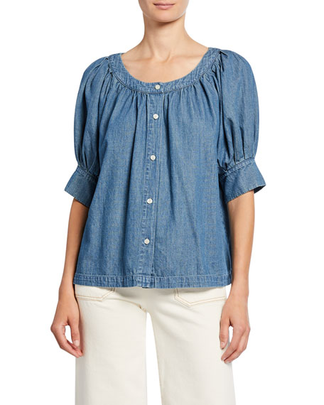 The Great The Puff Sleeve Button-Up Denim Top