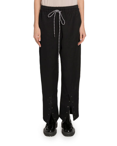Washed Cotton Drawstring Pants with Buttons