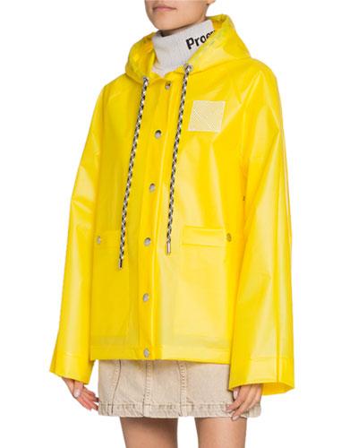 Logo-Print Short Raincoat