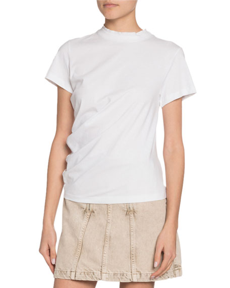 Proenza Schouler White Label Crewneck Short-Sleeve Twisted Jersey Cotton Tee