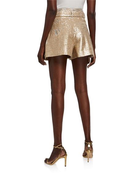 Jonathan Simkhai Belted Sequin Shorts