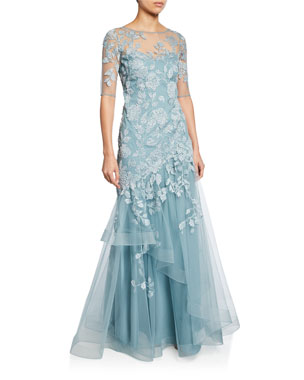 9bfd1ea9ee Rickie Freeman for Teri Jon Bateau-Neck Elbow-Sleeve Tulle Gown w  Lace