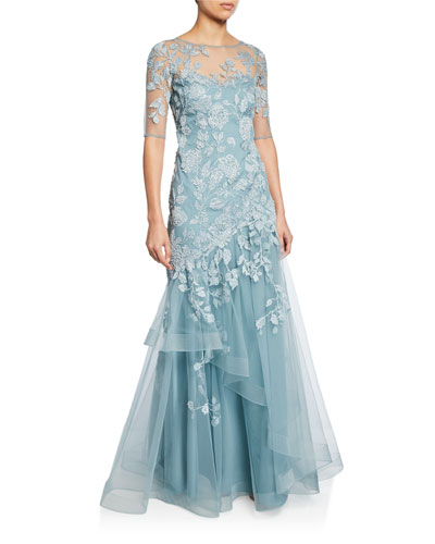 Bateau-Neck Elbow-Sleeve Tulle Gown w/ Lace Applique