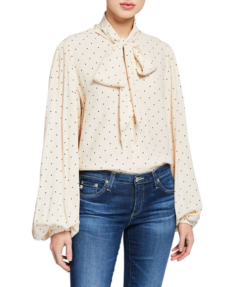 Equipment Cleone Dotted Tie-Neck Blouson-Sleeve Top