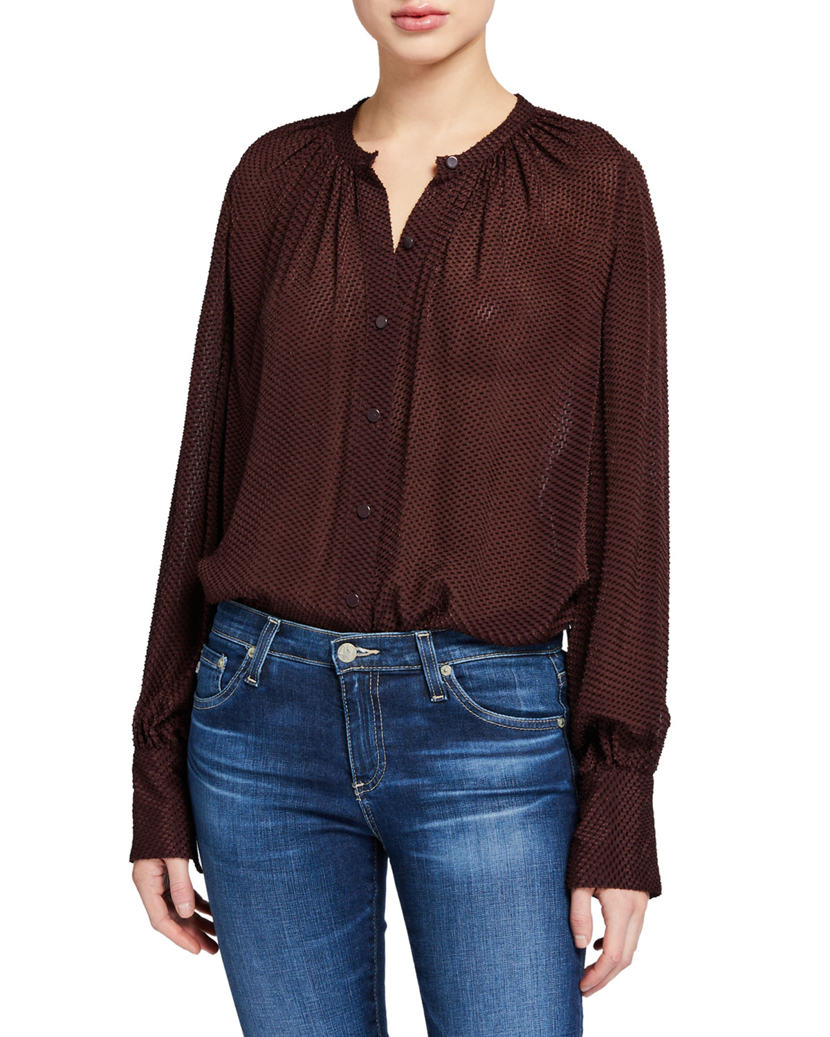 Equipment Corbette Button-Down Long-Sleeve Blouse
