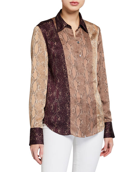 Image 2 of 3: Equipment Yvonet Python-Print Blouse