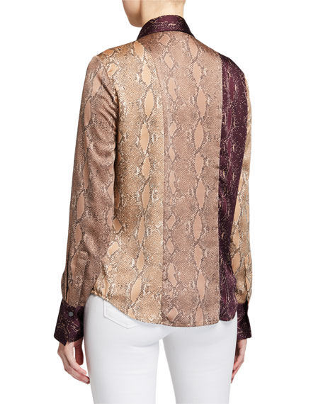 Image 3 of 3: Equipment Yvonet Python-Print Blouse