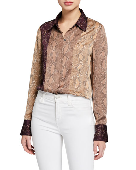 Equipment Yvonet Snakeskin Print Blouse In Pine Bark Multi