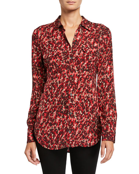 Equipment Slim-fit Signature Leopard-print Blouse In Merlot Multi