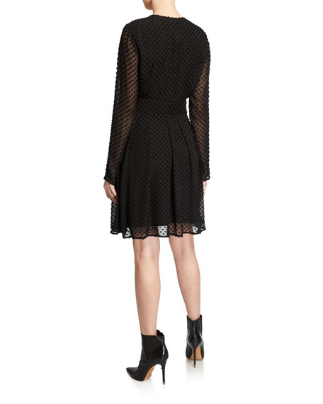 Equipment Jenava Long-Sleeve Clip Dot Dress