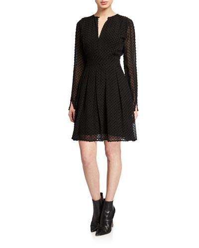Jenava Long-Sleeve Clip Dot Dress