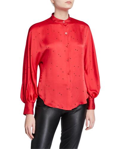Gabin Printed Mock-Neck Button-Down Shirt