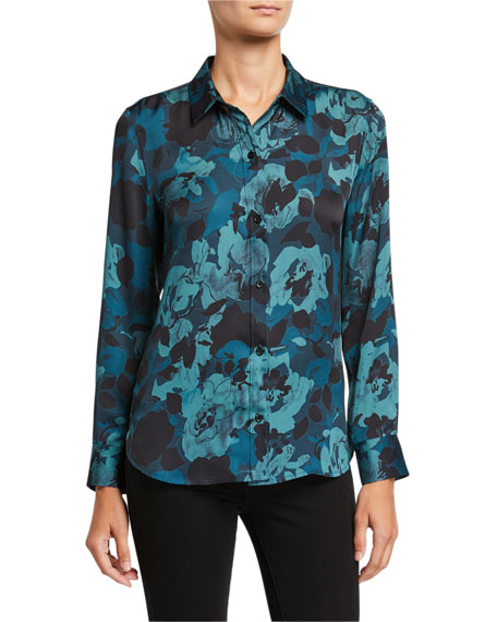 Equipment Leema Floral Button-Down Shirt In Reflecting Pond Multi