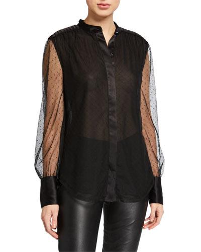 Garion Button-Down Sheer Sleeve Top