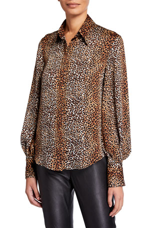 Equipment Didina Animal Bishop-Sleeve Button-Down Shirt