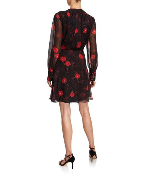 Equipment Danette Floral V-Neck Long-Sleeve Mini Silk Dress