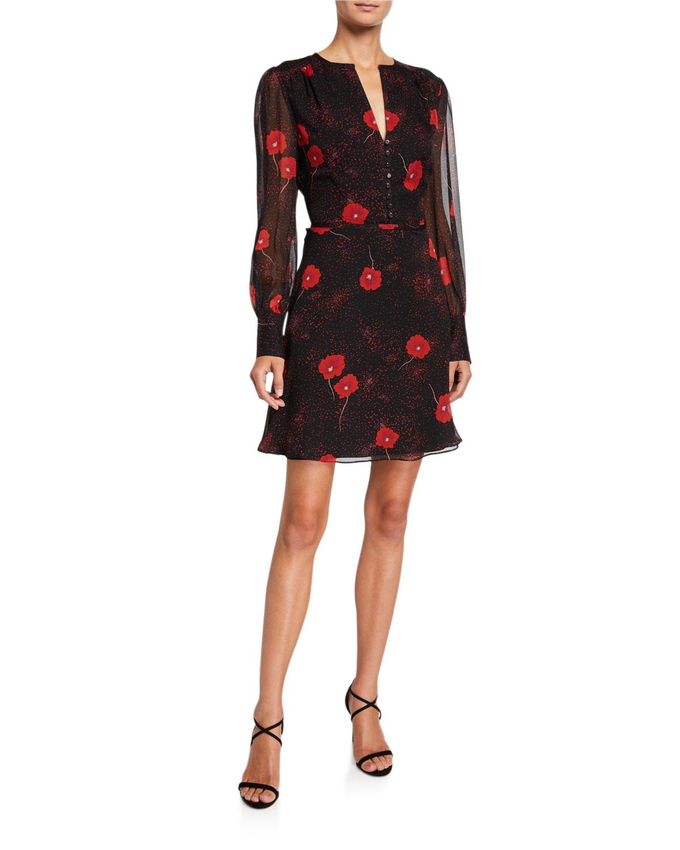 Danette Floral V Neck Long Sleeve Mini Silk Dress by Equipment