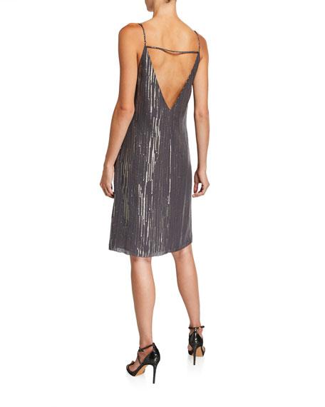 Equipment Tansie Metallic V-Neck Slip Dress
