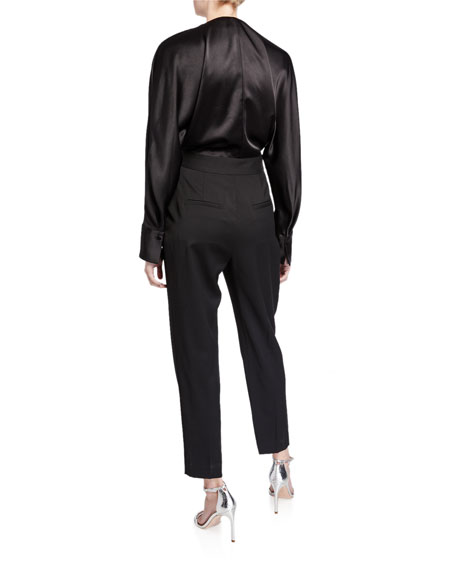 Equipment Carlens Long-Sleeve Satin-Bodice Wool Jumpsuit