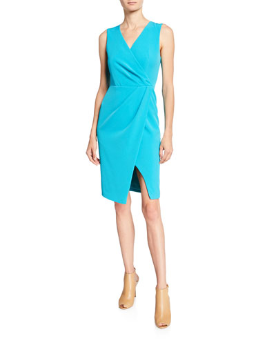 Nora V-Neck Sleeveless Faux-Wrap Sheath Dress