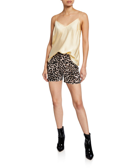 PAIGE Margot Leopard-Print Cutoff Shorts