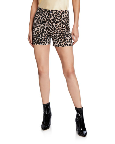 Margot Leopard-Print Cutoff Shorts