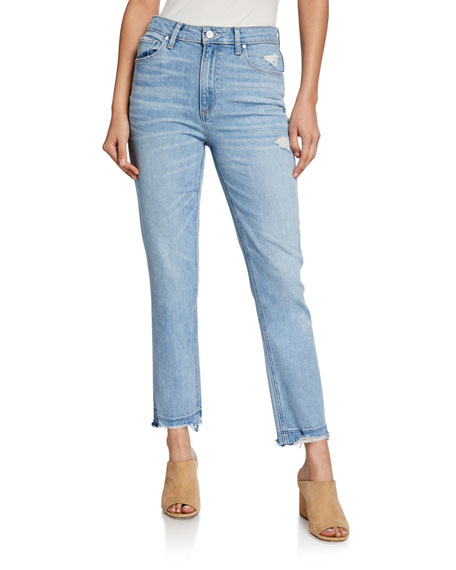 PAIGE Sarah Slim High-Rise Jeans with Ripped Hem