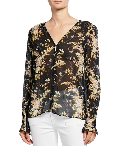 Calliope Button-Front Silk Top